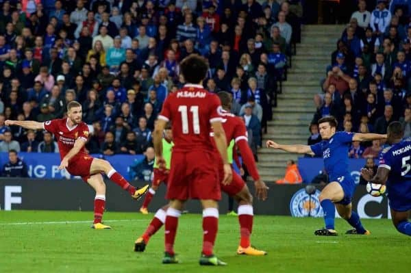 LEICESTER, ENGLAND - Saturday, September 23, 2017: Liverpool's captain Jordan Henderson scores the third goal during the FA Premier League match between Leicester City and Liverpool at the King Power Stadium. (Pic by David Rawcliffe/Propaganda)