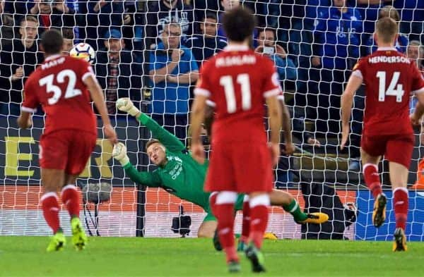 LEICESTER, ENGLAND - Saturday, September 23, 2017: Liverpool's goalkeeper Simon Mignolet saves a penalty from Leicester City's Jamie Vardy during the FA Premier League match between Leicester City and Liverpool at the King Power Stadium. (Pic by David Rawcliffe/Propaganda)
