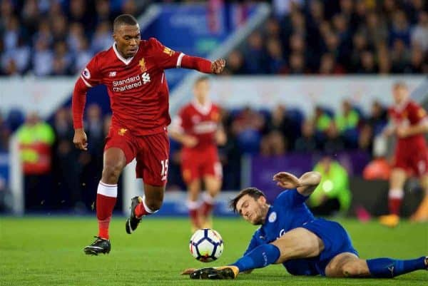 LEICESTER, ENGLAND - Saturday, September 23, 2017: Liverpool's Daniel Sturridge during the FA Premier League match between Leicester City and Liverpool at the King Power Stadium. (Pic by David Rawcliffe/Propaganda)