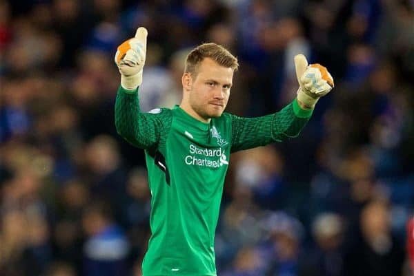 LEICESTER, ENGLAND - Saturday, September 23, 2017: Liverpool's goalkeeper Simon Mignolet celebrates after the 3-2 victory, in which he saved a penalty, during the FA Premier League match between Leicester City and Liverpool at the King Power Stadium. (Pic by David Rawcliffe/Propaganda)