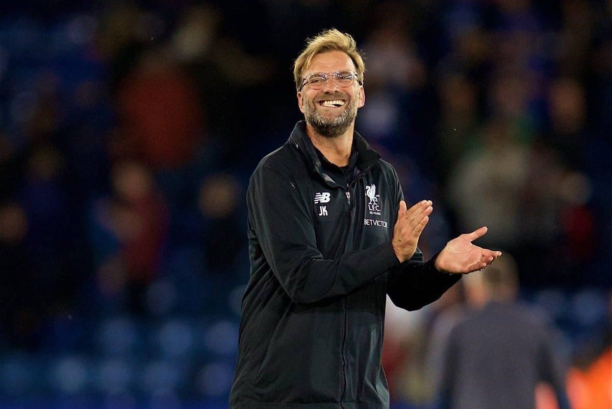 LEICESTER, ENGLAND - Saturday, September 23, 2017: Liverpool's manager J¸rgen Klopp celebrates after the 3-2 victory during the FA Premier League match between Leicester City and Liverpool at the King Power Stadium. (Pic by David Rawcliffe/Propaganda)