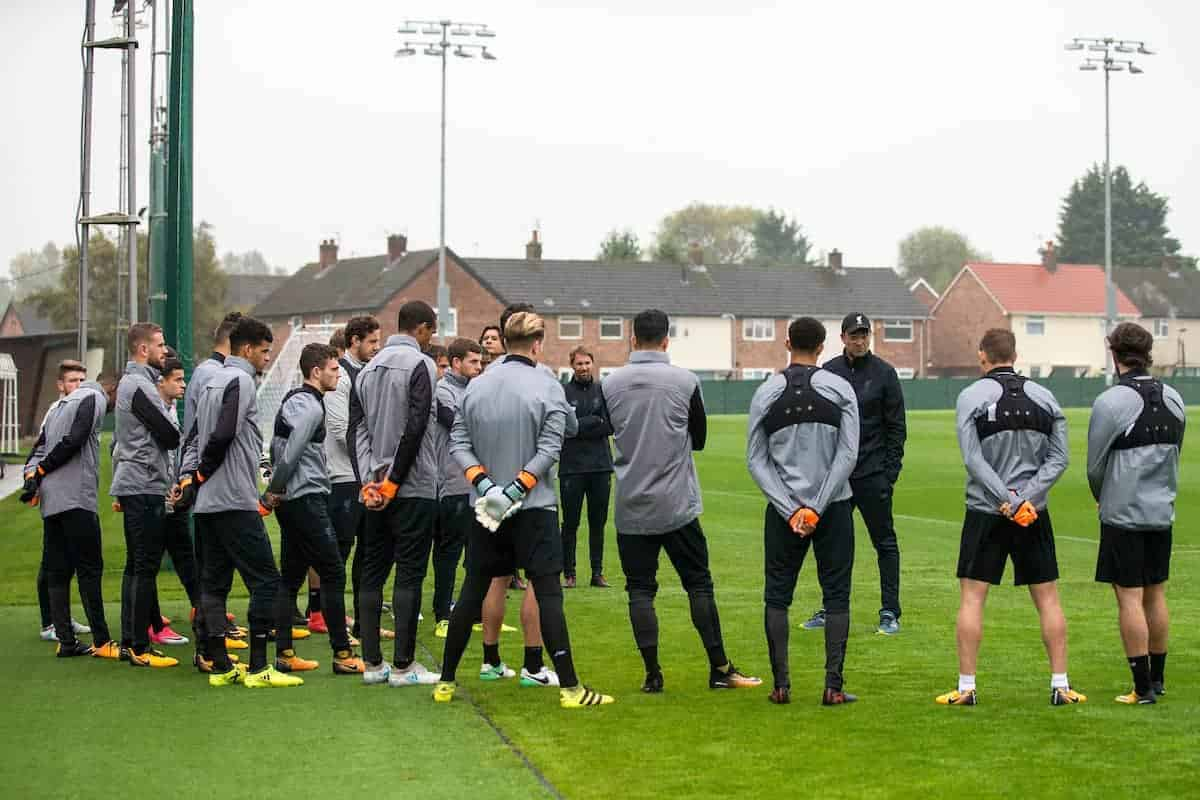 LIVERPOOL, ENGLAND - Monday, September 25, 2017: Liverpool's manager Jürgen Klopp speaks to his players during a training session at Melwood Training Ground ahead of the UEFA Champions League Group E match against FC Spartak Moscow. (Pic by Paul Greenwood/Propaganda)