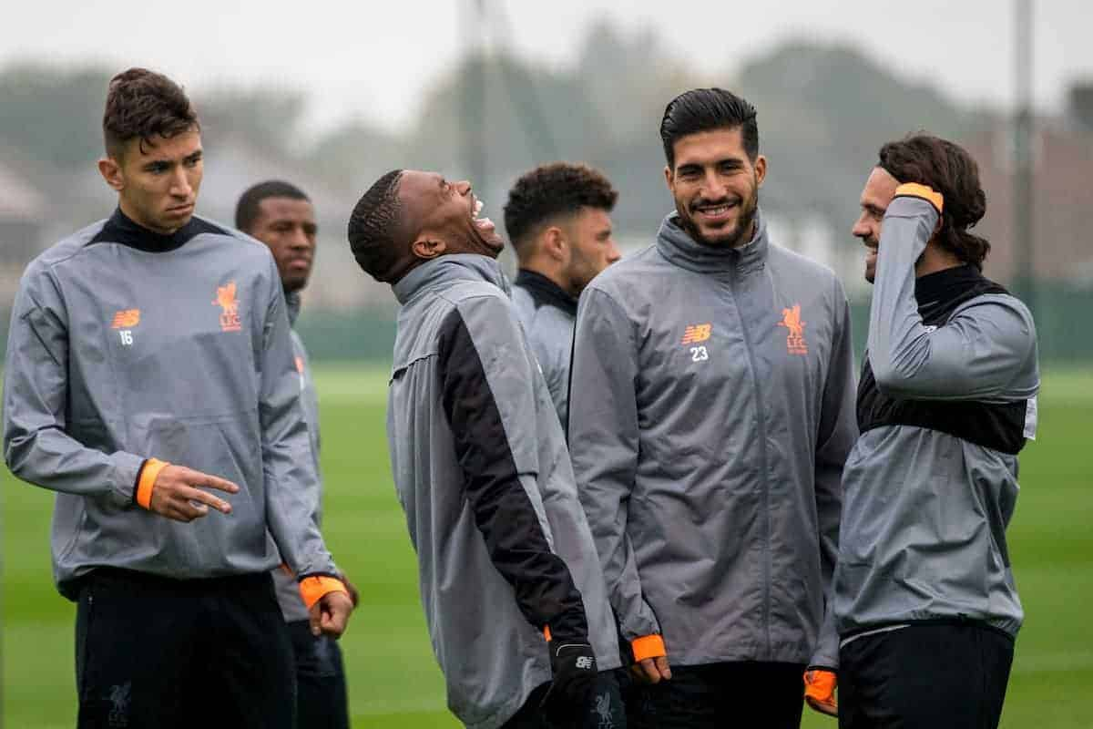 LIVERPOOL, ENGLAND - Monday, September 25, 2017: Liverpool's Daniel Sturridge laughs with Emre Can and Danny Ings during a training session at Melwood Training Ground ahead of the UEFA Champions League Group E match against FC Spartak Moscow. (Pic by Paul Greenwood/Propaganda)