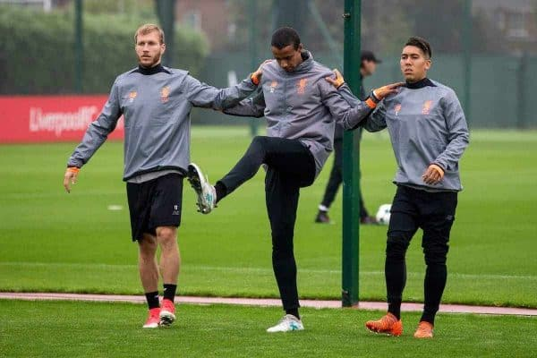 LIVERPOOL, ENGLAND - Monday, September 25, 2017: Liverpool's Ragnar Klavan, Joel Matip, Roberto Firmino during a training session at Melwood Training Ground ahead of the UEFA Champions League Group E match against FC Spartak Moscow. (Pic by Paul Greenwood/Propaganda)