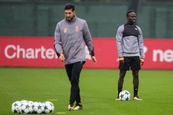 LIVERPOOL, ENGLAND - Monday, September 25, 2017: Liverpool's Sadio Mane during a training session at Melwood Training Ground ahead of the UEFA Champions League Group E match against FC Spartak Moscow. (Pic by Paul Greenwood/Propaganda)