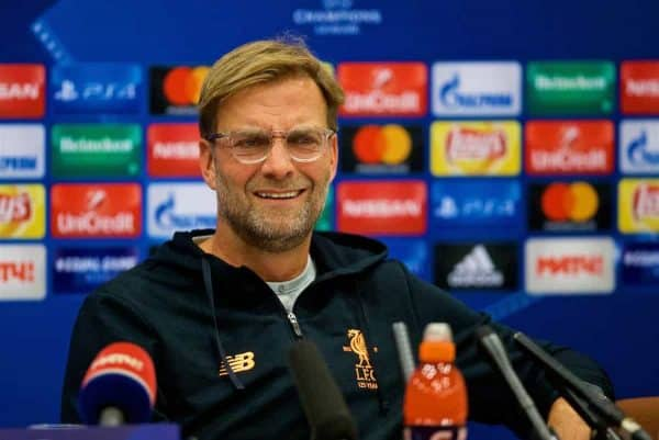 MOSCOW, RUSSIA - Monday, September 25, 2017: Liverpool's manager Jürgen Klopp during a press conference at the Sheraton Aiport Hotel ahead of the UEFA Champions League Group E match against Spartak Moscow FC. (Pic by David Rawcliffe/Propaganda)