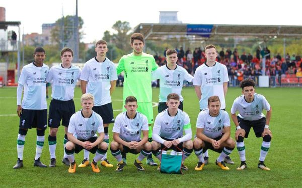 MOSCOW, RUSSIA - Tuesday, September 26, 2017: Liverpool players line-up for a team group photograph before the UEFA Youth League Group E match between Liverpool and Spartak Moscow FC at the Spartak Academy.(Pic by David Rawcliffe/Propaganda)