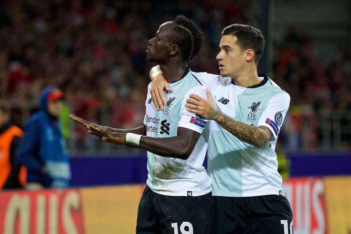 MOSCOW, RUSSIA - Tuesday, September 26, 2017: Liverpool's Philippe Coutinho Correia celebrates scoring the first equalising goal with team-mate Sadio Mane during the UEFA Champions League Group E match between Spartak Moscow and Liverpool at the Otkrytie Arena. (Pic by David Rawcliffe/Propaganda)
