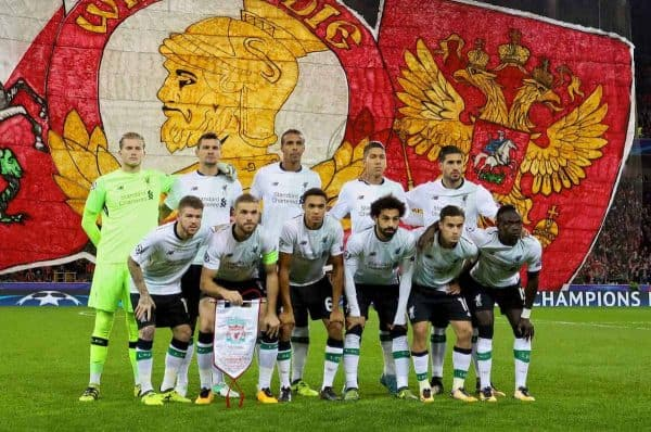 MOSCOW, RUSSIA - Tuesday, September 26, 2017: Liverpool players line-up for a team group photograph before the UEFA Champions League Group E match between Spartak Moscow and Liverpool at the Otkrytie Arena/ Back row L-R: goalkeeper Loris Karius, Dejan Lovren, Joel Matip, Roberto Firmino, Emre Can. Front row L-R: Alberto Moreno, captain Jordan Henderson, Trent Alexander-Arnold, Mohamed Salah, Philippe Coutinho Correia, Sadio Mane. (Pic by David Rawcliffe/Propaganda)