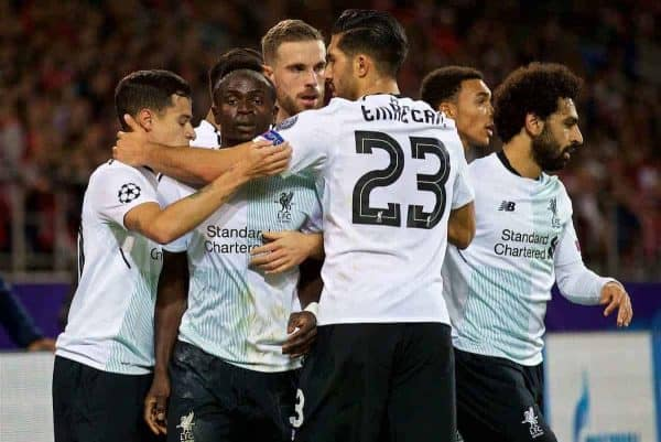 MOSCOW, RUSSIA - Tuesday, September 26, 2017: Liverpool's Philippe Coutinho Correia celebrates scoring the first equalising goal with team-mates during the UEFA Champions League Group E match between Spartak Moscow and Liverpool at the Otkrytie Arena. (Pic by David Rawcliffe/Propaganda)