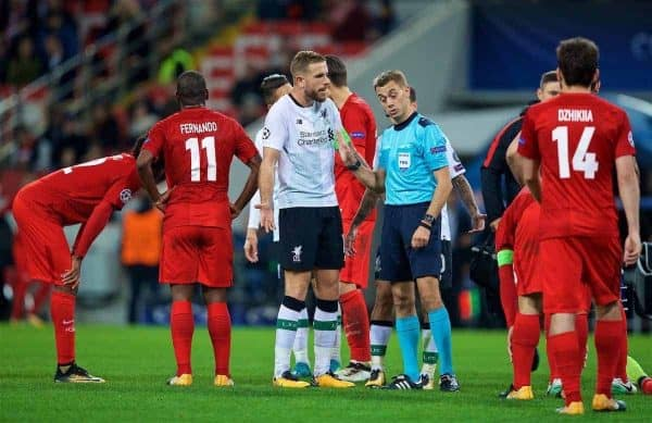 MOSCOW, RUSSIA - Tuesday, September 26, 2017: Liverpool's captain Jordan Henderson speaks to the referee during the UEFA Champions League Group E match between Spartak Moscow and Liverpool at the Otkrytie Arena. (Pic by David Rawcliffe/Propaganda)