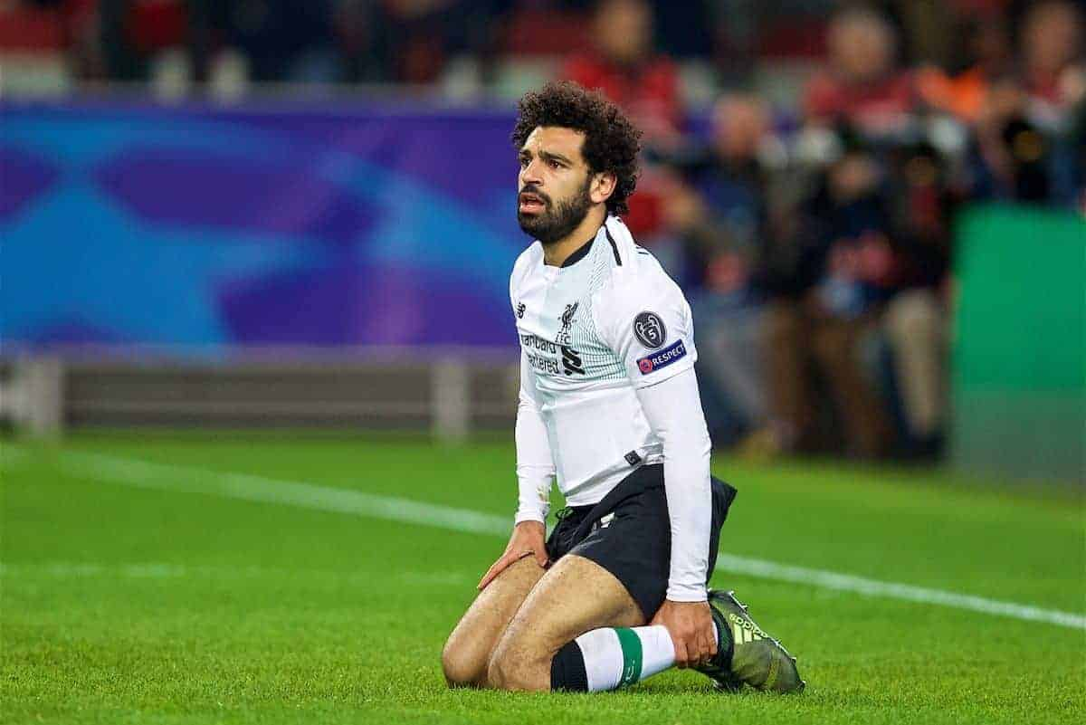 MOSCOW, RUSSIA - Tuesday, September 26, 2017: Liverpool's Mohamed Salah looks dejected after missing a chance during the UEFA Champions League Group E match between Spartak Moscow and Liverpool at the Otkrytie Arena. (Pic by David Rawcliffe/Propaganda)