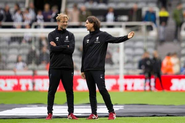 NEWCASTLE-UPON-TYNE, ENGLAND - Sunday, October 1, 2017: Liverpool Manager Jurgen Klopp and Liverpool assistant Manager Zeljko Buvac during the pre-match warm-up ahead of the FA Premier League match between Newcastle United and Liverpool at St. James' Park. (Pic by Paul Greenwood/Propaganda)
