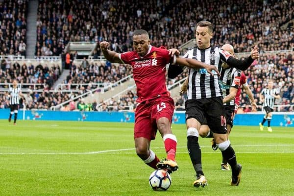 NEWCASTLE-UPON-TYNE, ENGLAND - Sunday, October 1, 2017: Liverpool's Daniel Sturridge and Newcastle United's Javier Manquillo during the FA Premier League match between Newcastle United and Liverpool at St. James' Park. (Pic by Paul Greenwood/Propaganda)