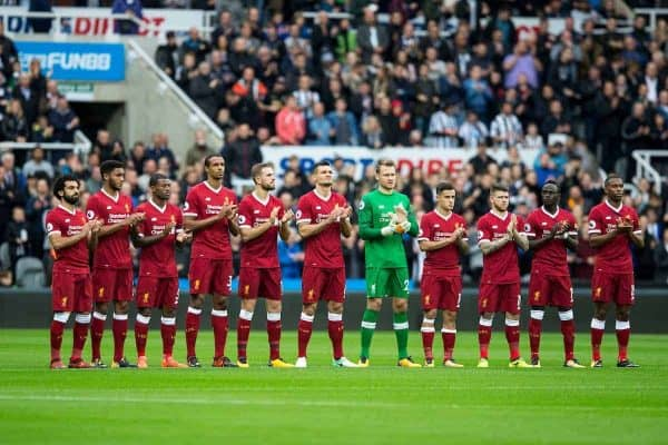 NEWCASTLE-UPON-TYNE, ENGLAND - Sunday, October 1, 2017: Liverpool's players line-up for a minute's pre-match applause in memory of Newcastle United's former chairman Freddie Sheperd before the FA Premier League match between Newcastle United and Liverpool at St. James' Park. (Pic by Paul Greenwood/Propaganda)