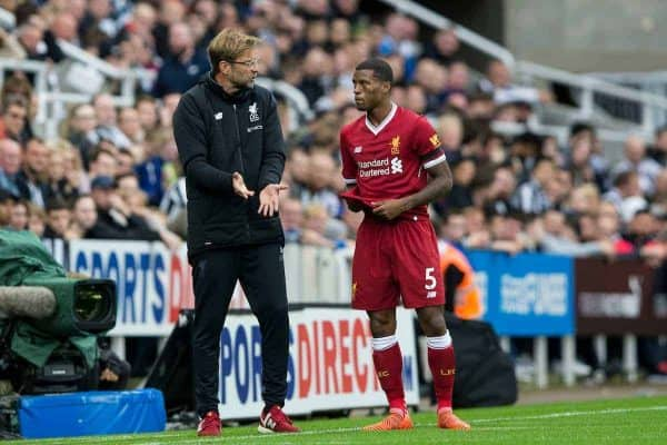 NEWCASTLE-UPON-TYNE, ENGLAND - Sunday, October 1, 2017: Liverpool Manager Jürgen Klopp speaks with Georginio Wijnaldum during the FA Premier League match between Newcastle United and Liverpool at St. James' Park. (Pic by Paul Greenwood/Propaganda)
