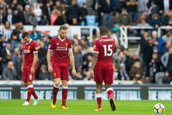 NEWCASTLE-UPON-TYNE, ENGLAND - Sunday, October 1, 2017: Liverpool's players look dejected after conceding the equalising goal to Newcastle United during the FA Premier League match between Newcastle United and Liverpool at St. James' Park. (Pic by Paul Greenwood/Propaganda) Dejan Lovren, captain Jordan Henderson, Daniel Sturridge
