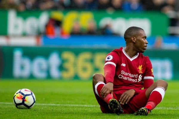 NEWCASTLE-UPON-TYNE, ENGLAND - Sunday, October 1, 2017: Liverpool's Daniel Sturridge sits on the ground dejected during the FA Premier League match between Newcastle United and Liverpool at St. James' Park. (Pic by Paul Greenwood/Propaganda)