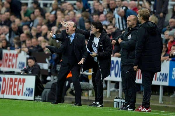Newcastle United manager Rafa Benitez shouts instructions to his team during the FA Premier League match between Newcastle United and Liverpool at St. James' Park. (Pic by Paul Greenwood/Propaganda)