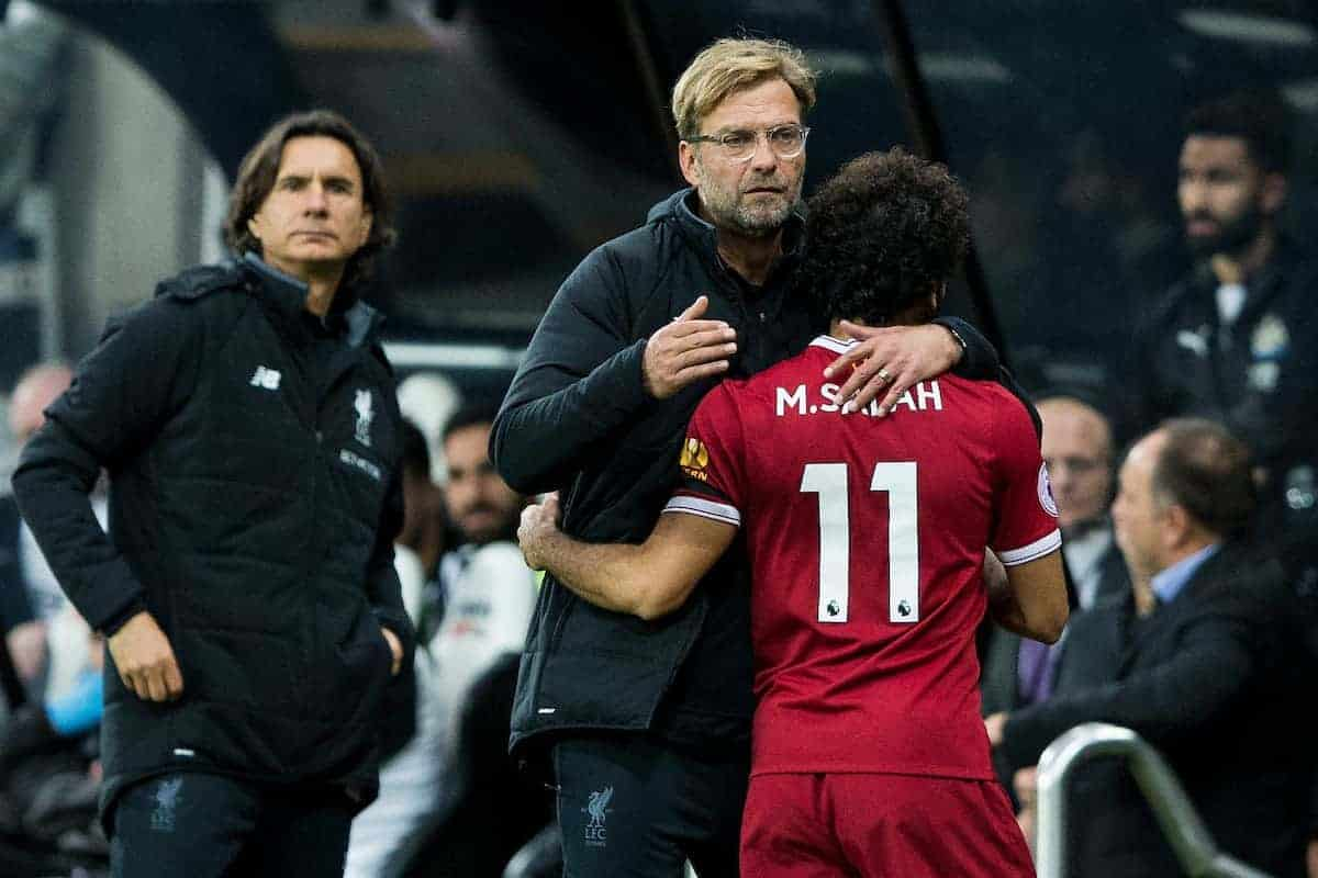 NEWCASTLE-UPON-TYNE, ENGLAND - Sunday, October 1, 2017: Liverpool Manager Jürgen Klopp hugs Mohamed Salah as he leaves the pitch following his substitution during the FA Premier League match between Newcastle United and Liverpool at St. James' Park. (Pic by Paul Greenwood/Propaganda)