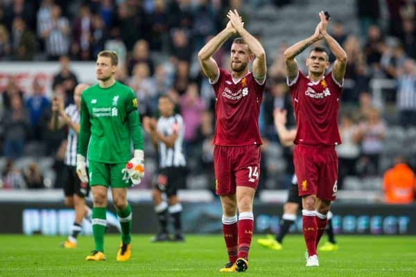 NEWCASTLE-UPON-TYNE, ENGLAND - Sunday, October 1, 2017: Liverpool's captain Jordan Henderson and Dejan Lovren applaud supporters after the FA Premier League match between Newcastle United and Liverpool at St. James' Park. (Pic by Paul Greenwood/Propaganda)