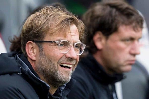 NEWCASTLE-UPON-TYNE, ENGLAND - Sunday, October 1, 2017: Jurgen Klopp during the FA Premier League match between Newcastle United and Liverpool at St. James' Park. (Pic by Paul Greenwood/Propaganda)