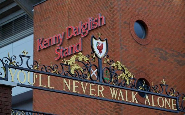 Images of former Liverpool player and manager and current non-executive director Kenny Dalglish on the side of the Centenary Stand, renamed the Kenny Dalglish Stand. (Pic by David Rawcliffe/Propaganda)