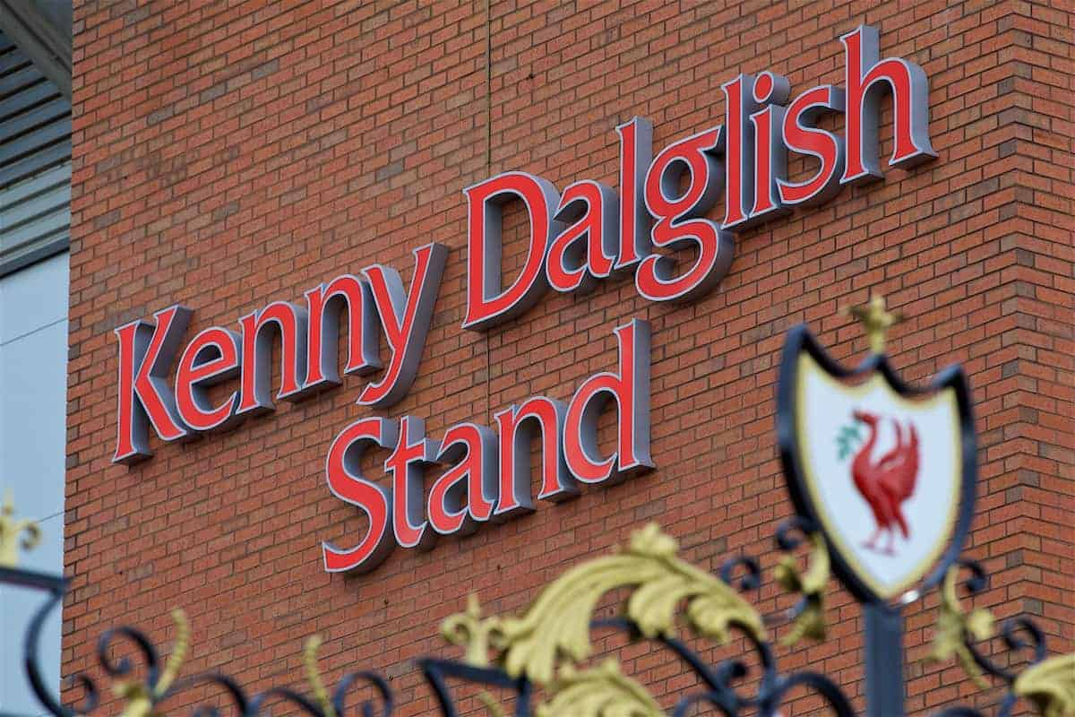 LIVERPOOL, ENGLAND - Friday, October 13, 2017: Images of former Liverpool player and manager and current non-executive director Kenny Dalglish on the side of the Centenary Stand, renamed the Kenny Dalglish Stand. (Pic by David Rawcliffe/Propaganda)
