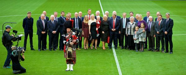 LIVERPOOL, ENGLAND - Friday, October 13, 2017: Kenny Dalglish with family and former players at a ceremony to rename Liverpool FC's Centenary Stand the Kenny Dalglish Stand. Steven Gerrard, Gerard Houllier, Gary McAllister, Ian Callaghan, Ronnie Whelan, Alan Kennedy, Paul Dalglish, Phil Neal, Lauren Dalglish, Gary Gillespie, Lindsey Dalglish, Chris Lawler, Terry McDermott, Marina Dalglish, Kenny Dalglish, Robbie Fowler, Ian St John, Jamie Carragher, Roy Evans, Michael Owen, Alan Hansen. (Pic by David Rawcliffe/Propaganda)