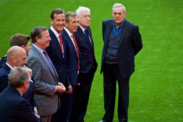 LIVERPOOL, ENGLAND - Friday, October 13, 2017: Former Liverpool players at a ceremony to rename Liverpool FC's Centenary Stand the Kenny Dalglish Stand. Ronnie Whelan, Gary Gillespie, Alan Kennedy, Ian Callaghan, Ian St John. (Pic by David Rawcliffe/Propaganda)
