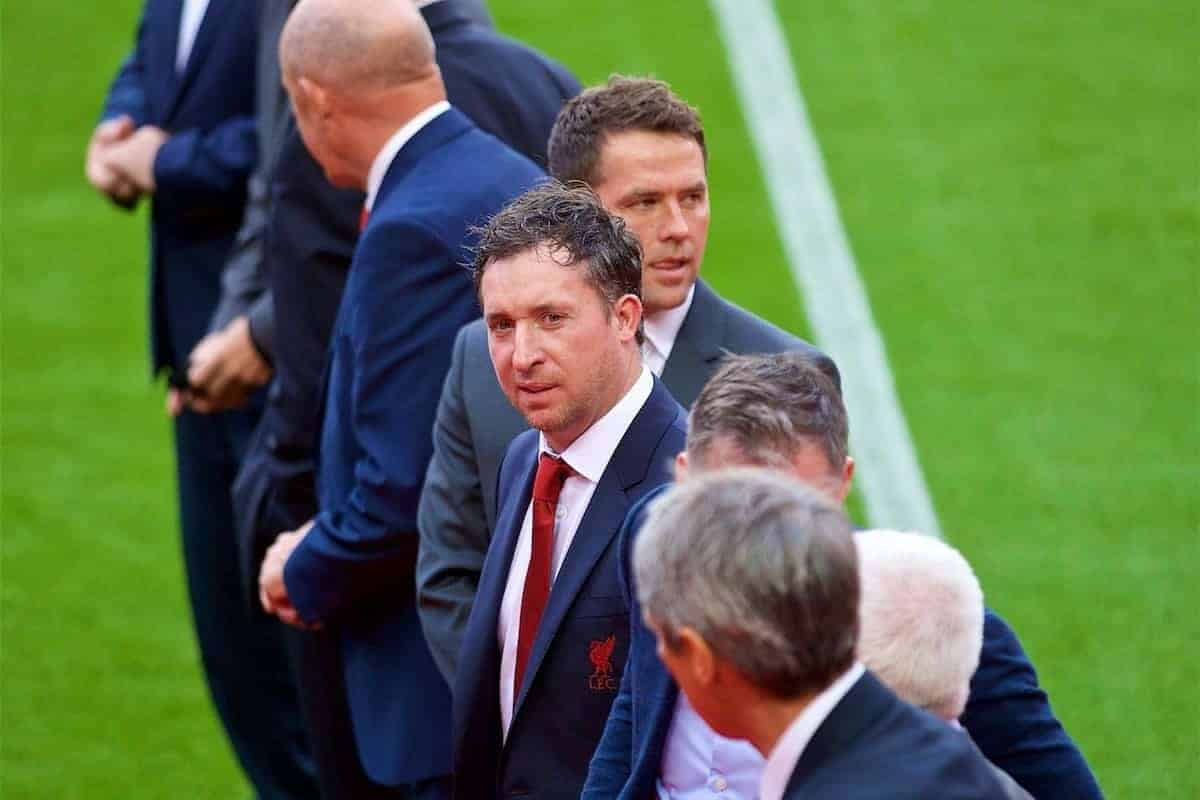 LIVERPOOL, ENGLAND - Friday, October 13, 2017: Former Liverpool players Robbie Fowler and Michael Owen at a ceremony to rename Liverpool FC's Centenary Stand the Kenny Dalglish Stand. (Pic by David Rawcliffe/Propaganda)