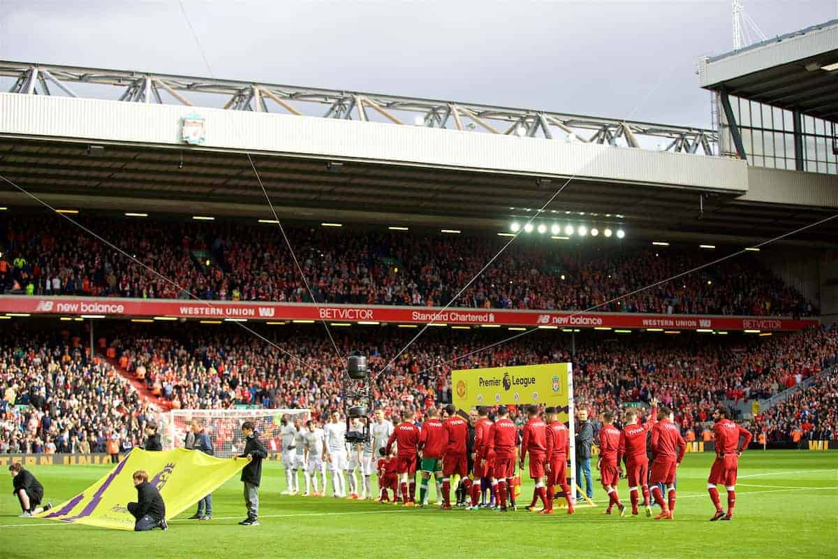 LIVERPOOL, ENGLAND - Saturday, October 14, 2017: Liverpool and Manchester United players shake hands during the FA Premier League match between Liverpool and Manchester United at Anfield. (Pic by David Rawcliffe/Propaganda)