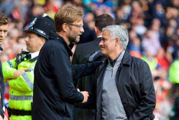 LIVERPOOL, ENGLAND - Saturday, October 14, 2017: Liverpool's manager Jürgen Klopp and Manchester United's manager Jose Mourinho before the FA Premier League match between Liverpool and Manchester United at Anfield. (Pic by David Rawcliffe/Propaganda)