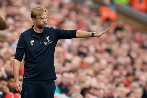LIVERPOOL, ENGLAND - Saturday, October 14, 2017: Liverpool's manager Jürgen Klopp during the FA Premier League match between Liverpool and Manchester United at Anfield. (Pic by David Rawcliffe/Propaganda)