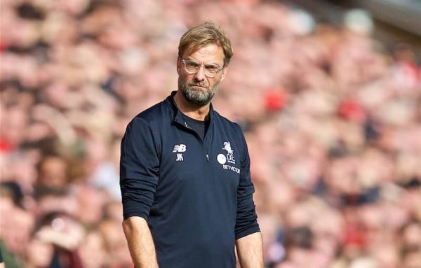 LIVERPOOL, ENGLAND - Saturday, October 14, 2017: Liverpool's manager J¸rgen Klopp reacts during the FA Premier League match between Liverpool and Manchester United at Anfield. (Pic by David Rawcliffe/Propaganda)