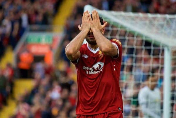 LIVERPOOL, ENGLAND - Saturday, October 14, 2017: Liverpool's Emre Can looks dejected after missing a chance during the FA Premier League match between Liverpool and Manchester United at Anfield. (Pic by David Rawcliffe/Propaganda)