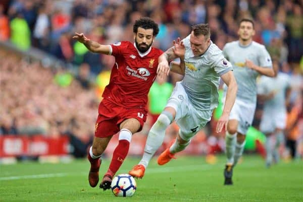 LIVERPOOL, ENGLAND - Saturday, October 14, 2017: Liverpool's Mohamed Salah and Manchester United's Phil Jones during the FA Premier League match between Liverpool and Manchester United at Anfield. (Pic by David Rawcliffe/Propaganda)