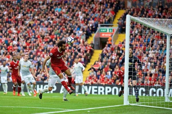 LIVERPOOL, ENGLAND - Saturday, October 14, 2017: Liverpool's Mohamed Salah misses a chance during the FA Premier League match between Liverpool and Manchester United at Anfield. (Pic by David Rawcliffe/Propaganda)