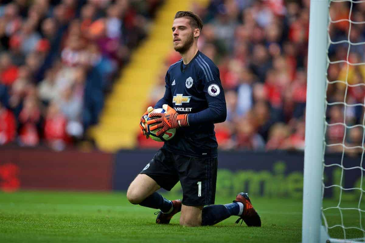 LIVERPOOL, ENGLAND - Saturday, October 14, 2017: Manchester United's goalkeeper David de Gea during the FA Premier League match between Liverpool and Manchester United at Anfield. (Pic by David Rawcliffe/Propaganda)