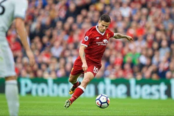 LIVERPOOL, ENGLAND - Saturday, October 14, 2017: Liverpool's Philippe Coutinho Correia during the FA Premier League match between Liverpool and Manchester United at Anfield. (Pic by David Rawcliffe/Propaganda)