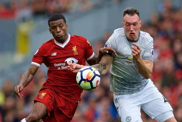 LIVERPOOL, ENGLAND - Saturday, October 14, 2017: Liverpool's Georginio Wijnaldum and Manchester United's Phil Jones during the FA Premier League match between Liverpool and Manchester United at Anfield. (Pic by David Rawcliffe/Propaganda)