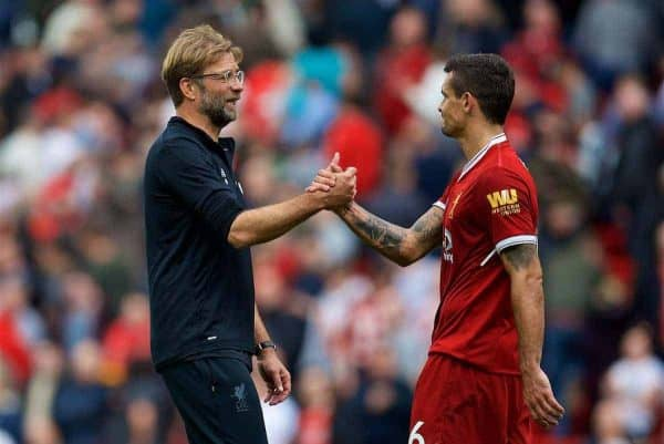 LIVERPOOL, ENGLAND - Saturday, October 14, 2017: Liverpool's manager Jürgen Klopp with Dejan Lovren after the goal-less draw with Manchester United during the FA Premier League match between Liverpool and Manchester United at Anfield. (Pic by David Rawcliffe/Propaganda)