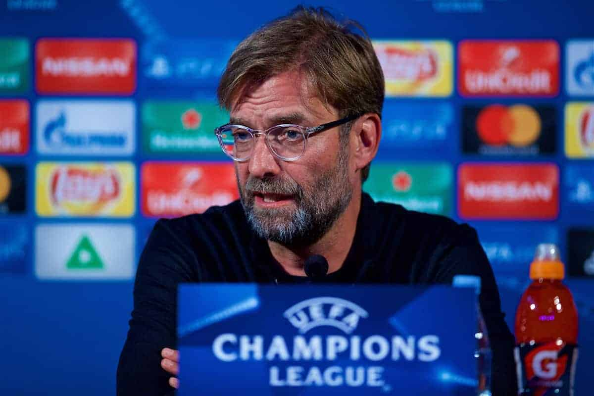 MARIBOR, SLOVENIA - Monday, October 16, 2017: Liverpool's manager Jürgen Klopp during a press conference ahead of the UEFA Champions League Group E match between NK Maribor and Liverpool at the Stadion Ljudski vrt. (Pic by David Rawcliffe/Propaganda)