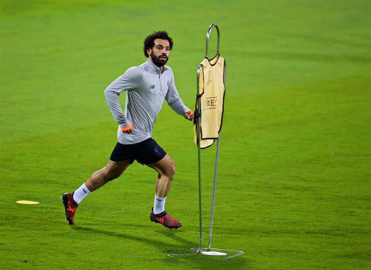 MARIBOR, SLOVENIA - Monday, October 16, 2017: Liverpool's Mohamed Salah during a training session ahead of the UEFA Champions League Group E match between NK Maribor and Liverpool at the Stadion Ljudski vrt. (Pic by David Rawcliffe/Propaganda)