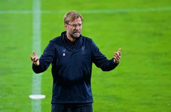 MARIBOR, SLOVENIA - Monday, October 16, 2017: Liverpool's manager Jürgen Klopp during a training session ahead of the UEFA Champions League Group E match between NK Maribor and Liverpool at the Stadion Ljudski vrt. (Pic by David Rawcliffe/Propaganda)