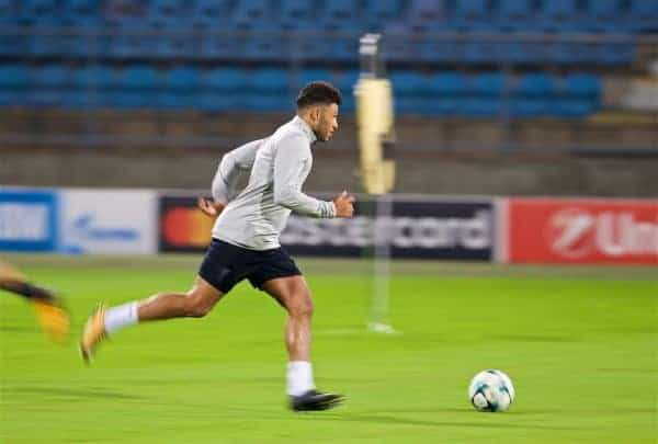 MARIBOR, SLOVENIA - Monday, October 16, 2017: Liverpool's Alex Oxlade-Chamberlain during a training session ahead of the UEFA Champions League Group E match between NK Maribor and Liverpool at the Stadion Ljudski vrt. (Pic by David Rawcliffe/Propaganda)