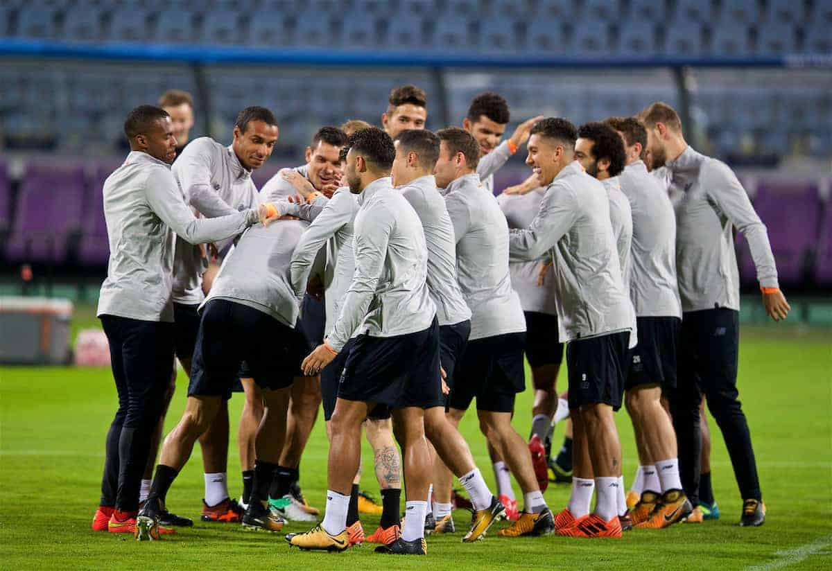 MARIBOR, SLOVENIA - Monday, October 16, 2017: Liverpool players during a training session ahead of the UEFA Champions League Group E match between NK Maribor and Liverpool at the Stadion Ljudski vrt. (Pic by David Rawcliffe/Propaganda)