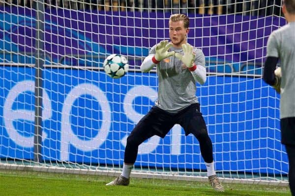MARIBOR, SLOVENIA - Monday, October 16, 2017: Liverpool's goalkeeper Loris Karius during a training session ahead of the UEFA Champions League Group E match between NK Maribor and Liverpool at the Stadion Ljudski vrt. (Pic by David Rawcliffe/Propaganda)
