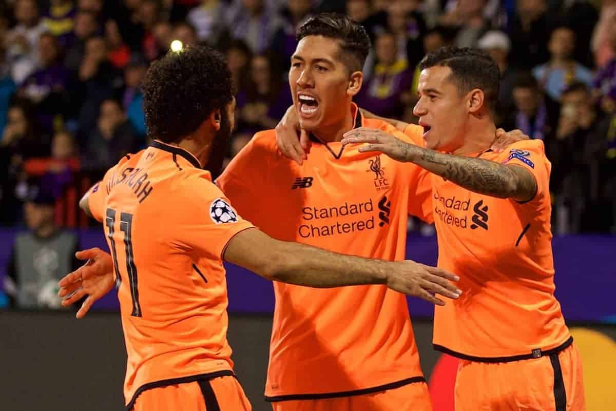 MARIBOR, SLOVENIA - Tuesday, October 17, 2017: Liverpool's Roberto Firmino celebrates scoring the first goal with team-mates Mohamed Salah and Philippe Coutinho Correia during the UEFA Champions League Group E match between NK Maribor and Liverpool at the Stadion Ljudski vrt. (Pic by David Rawcliffe/Propaganda)