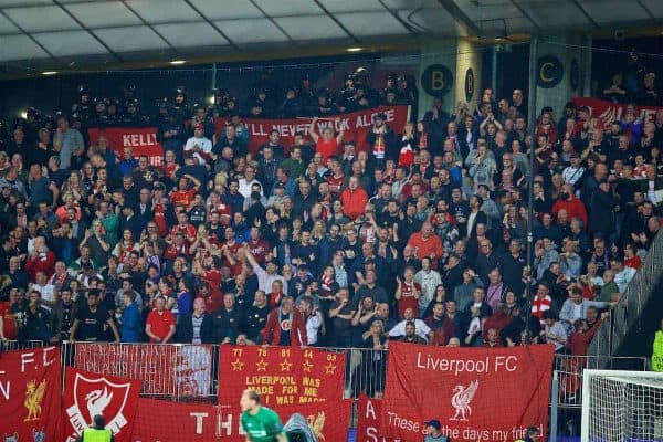 MARIBOR, SLOVENIA - Tuesday, October 17, 2017: Liverpool supporters celebrate the second goal during the UEFA Champions League Group E match between NK Maribor and Liverpool at the Stadion Ljudski vrt. (Pic by David Rawcliffe/Propaganda)